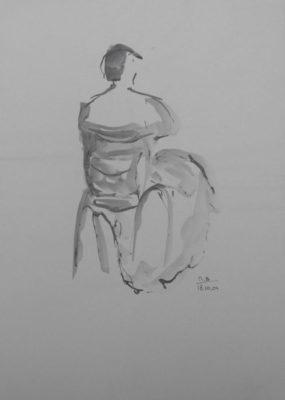 Kletsende vrouw op stoel